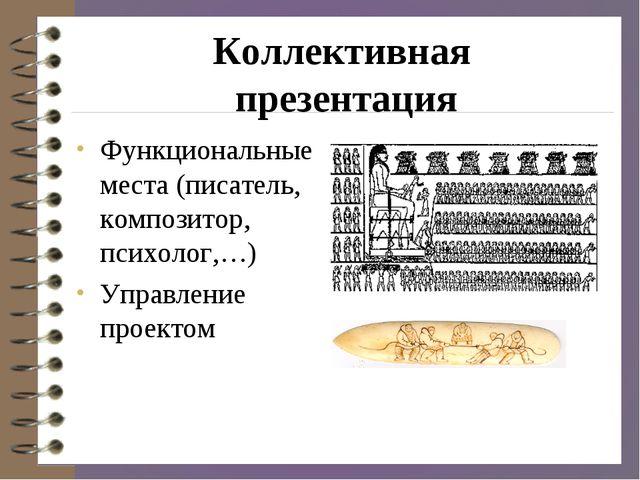 Коллективная презентация Функциональные места (писатель, композитор, психолог...