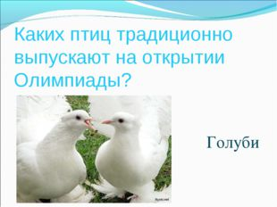 Каких птиц традиционно выпускают на открытии Олимпиады? Голуби