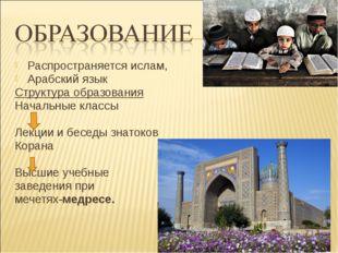 Распространяется ислам, Арабский язык Структура образования Начальные классы