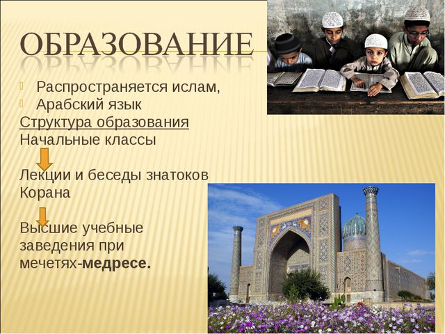 Распространяется ислам, Арабский язык Структура образования Начальные классы...