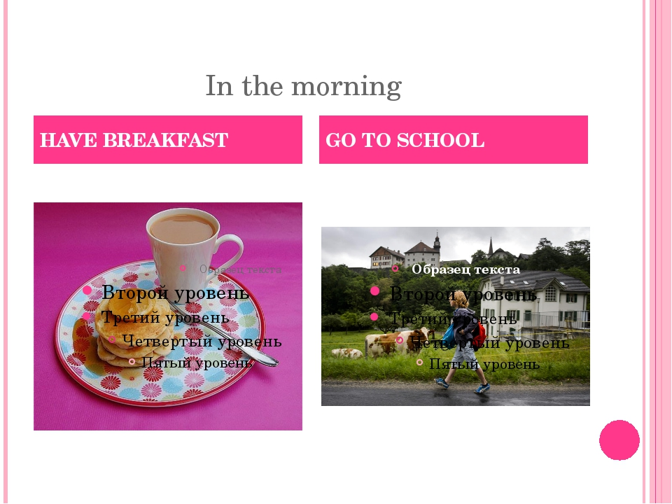 In the morning HAVE BREAKFAST GO TO SCHOOL