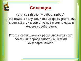 Селекция (от лат. selection – отбор, выбор) – это наука о получении новых фор