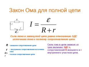 Закон Ома для полной цепи Сила тока в замкнутой цепи равна отношению ЭДС исто