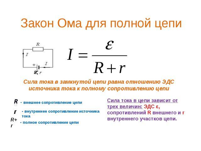 Закон Ома для полной цепи Сила тока в замкнутой цепи равна отношению ЭДС исто...
