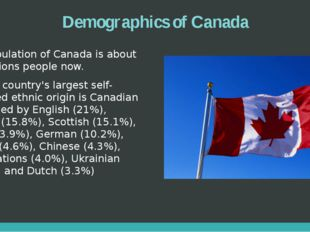Demographics of Canada Population of Canada is about 35 millions people now.