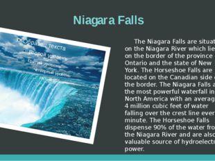 Niagara Falls The Niagara Falls are situated on the Niagara River which lies