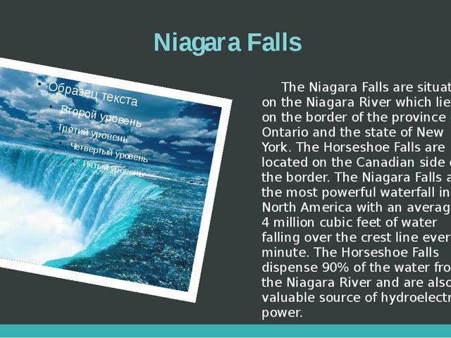 Niagara Falls The Niagara Falls are situated on the Niagara River which lies...