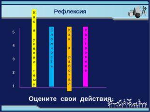 Рефлексия 5 4 3 2 1 Как я усвоил тему Сложность Как я работал Настроение Оцен