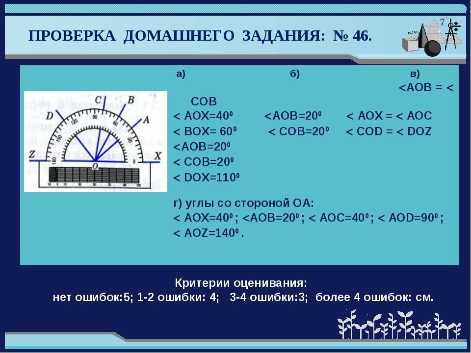 ПРОВЕРКА ДОМАШНЕГО ЗАДАНИЯ: № 46. Критерии оценивания: нет ошибок:5; 1-2 оши...