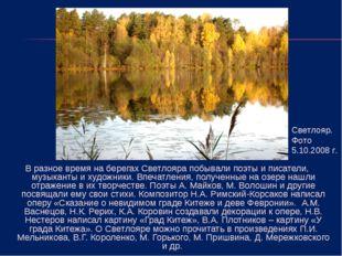 В разное время на берегах Светлояра побывали поэты и писатели, музыканты и ху