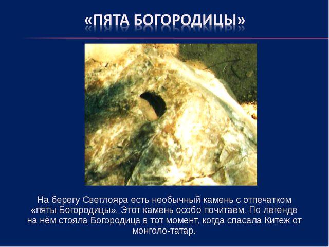 На берегу Светлояра есть необычный камень с отпечатком «пяты Богородицы». Эт...