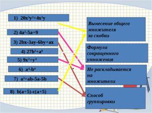 1) 20x3y2+4x2y 2) 4a2-5a+9 3) 2bx-3ay-6by+ax 4) 27b3+a6 5) 9x2+y4 6) a4-b4 7
