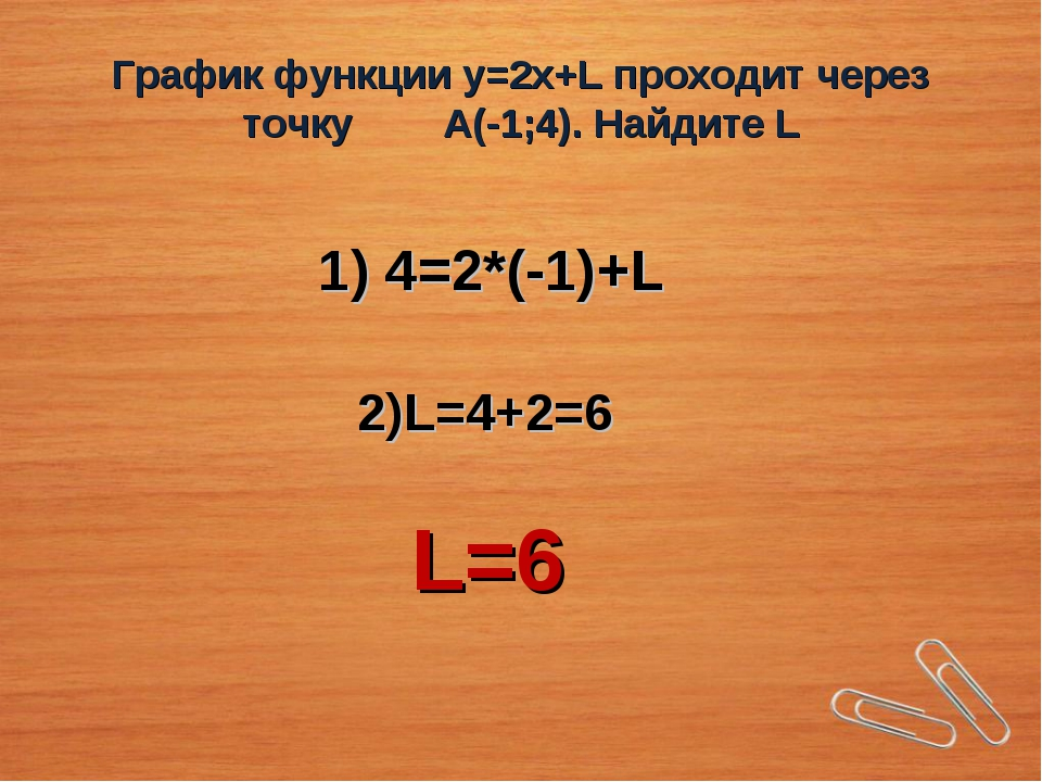 График функции у=2х+L проходит через точку А(-1;4). Найдите L 1) 4=2*(-1)+L 2...