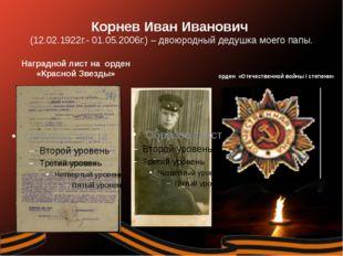 Корнев Иван Иванович (12.02.1922г.- 01.05.2006г.) – двоюродный дедушка мое