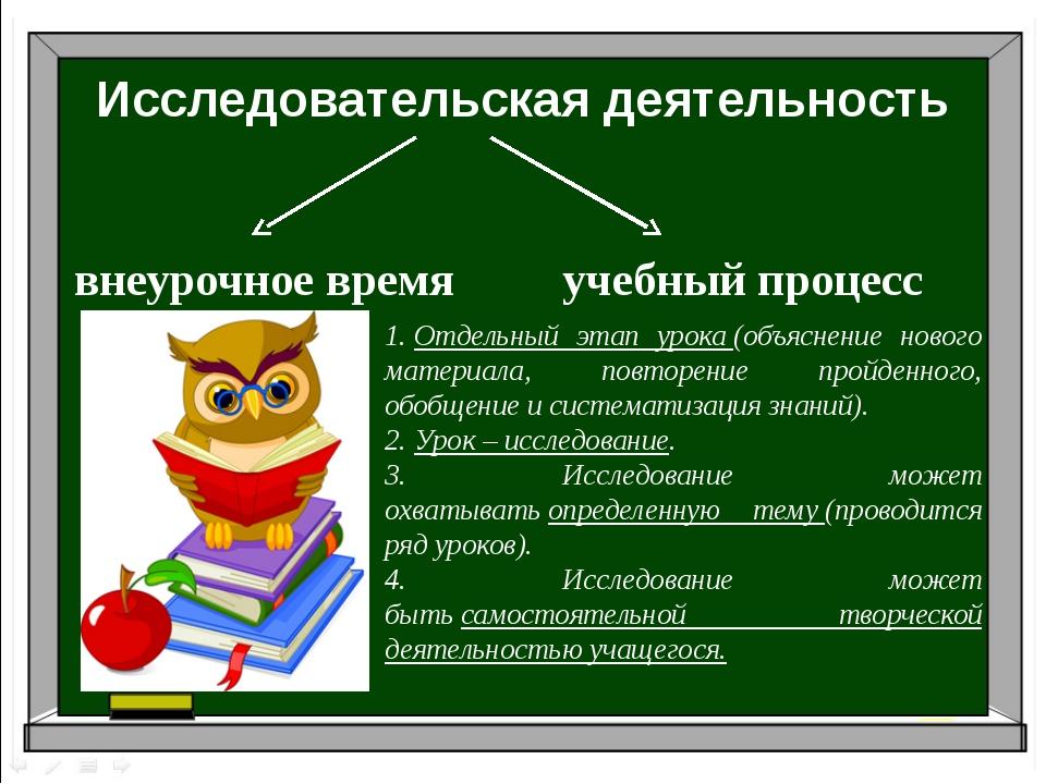 Исследовательская деятельность внеурочноевремя учебный процесс 1.Отдельный...