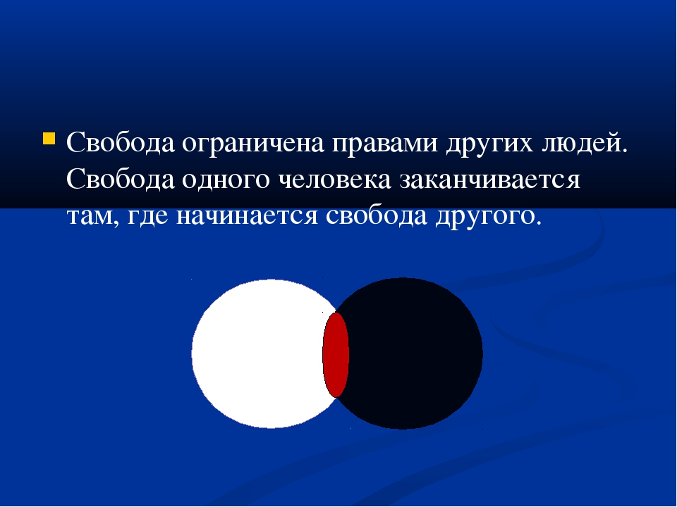 Свобода ограничена правами других людей. Свобода одного человека заканчиваетс...