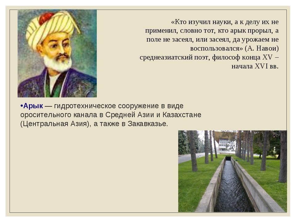 Арык— гидротехническое сооружение в виде оросительного канала в Средней Азии...
