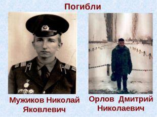 Мужиков Николай Яковлевич Орлов Дмитрий Николаевич Погибли