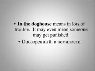 In the doghouse means in lots of trouble. It may even mean someone may get pu