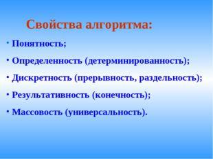 Свойства алгоритма: Понятность; Определенность (детерминированность); Дискре