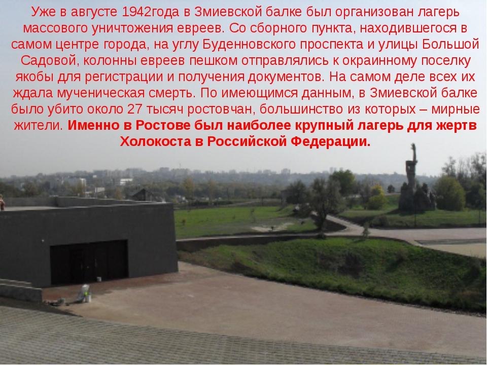 Уже в августе 1942года в Змиевской балке был организован лагерь массового уни...