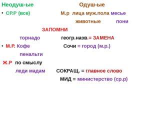 Неодуш-ые Одуш-ые СР.Р (все) М.р лица муж.пола месье животные пони ЗАПОМНИ т