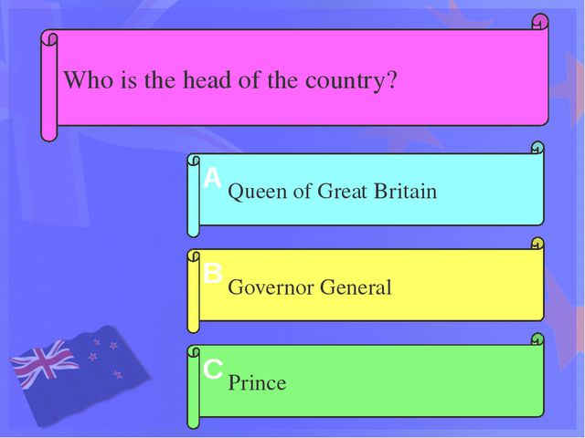 Who is the head of the country? Governor General Queen of Great Britain Princ...