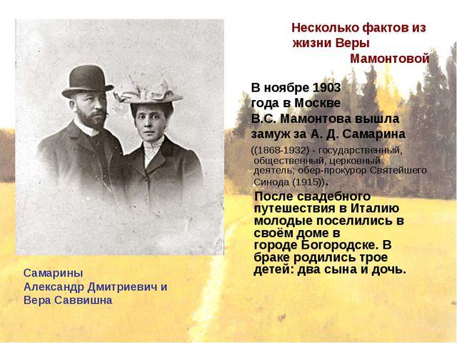 Несколько фактов из жизни Веры Мамонтовой В ноябре1903 годавМоскве В.С. Ма...