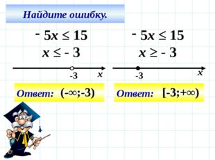 Найдите ошибку. 5x ≤ 15 x ≤ - 3 Ответ: (-∞;-3) 5x ≤ 15 x ≥ - 3 Ответ: [-3;+∞)