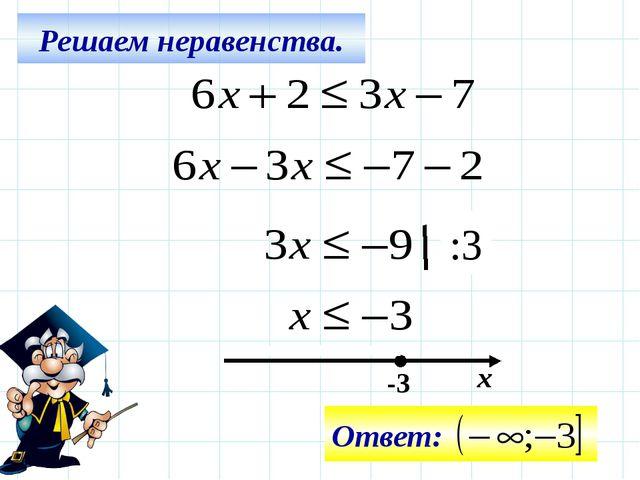 Решаем неравенства. -3 х :3 Ответ: Все действия на слайде – последовательно щ...