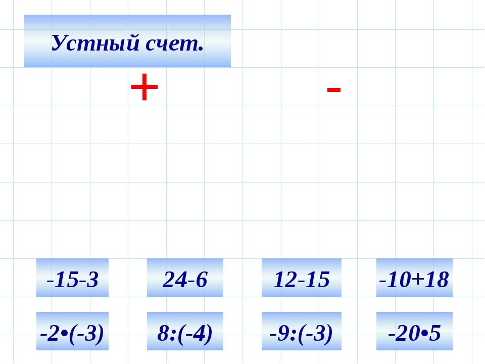 Устный счет. + - -15-3 24-6 12-15 -10+18 -2•(-3) 8:(-4) -9:(-3) -20•5