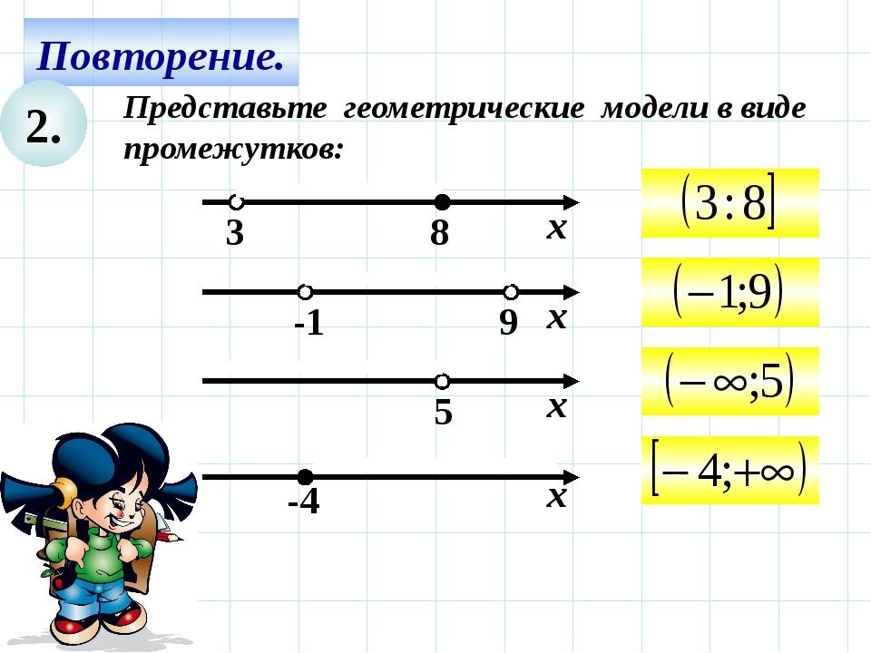Повторение. 2. Представьте геометрические модели в виде промежутков: х -4 9 -...