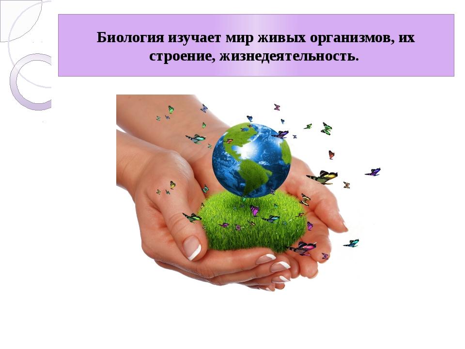 Биология изучает мир живых организмов, их строение, жизнедеятельность.