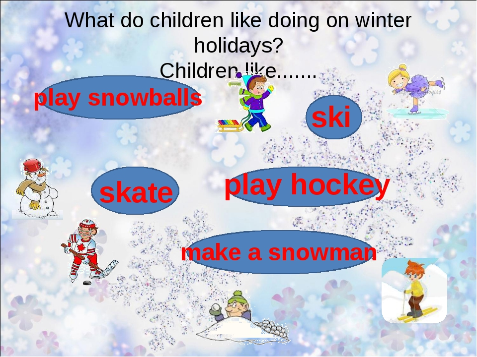What do children like doing on winter holidays? Children like....... ski skat...