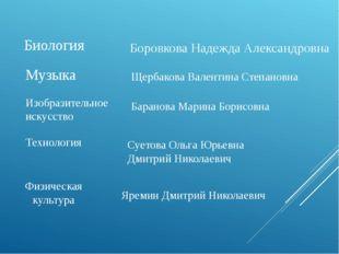 Биология Боровкова Надежда Александровна Музыка Щербакова Валентина Степановн