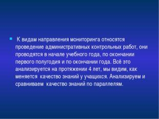 К видам направления мониторинга относятся проведение административных контрол