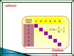задача1 Ответ: 1/6 Числа на выпавших сторонах123456 1 2 3