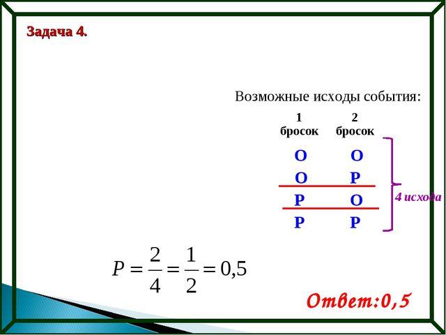 Задача 4. Возможные исходы события: О Р О О О Р Р Р Ответ:0,5 4 исхода 1 брос...