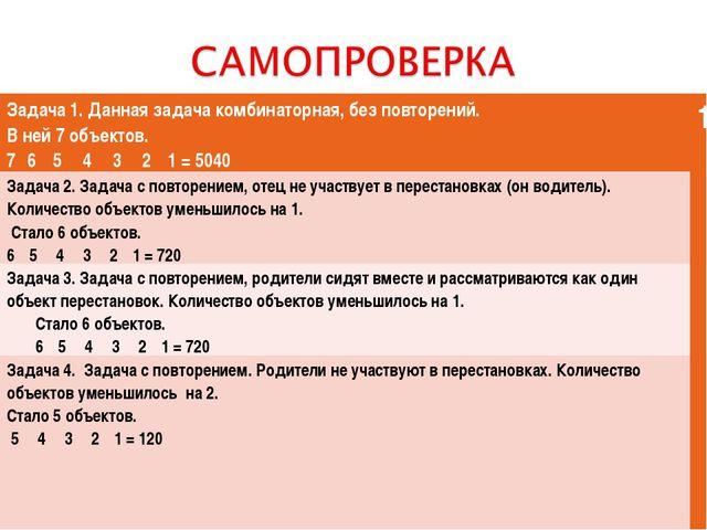 Задача 1. Данная задача комбинаторная, без повторений. В ней 7 объектов. 7· 6...