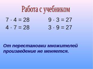 7 ∙ 4 = 28 4 ∙ 7 = 28 9 ∙ 3 = 27 3 ∙ 9 = 27 От перестановки множителей произв