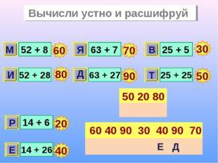 Вычисли устно и расшифруй 52 + 8 52 + 28 63 + 7 63 + 27 25 + 5 25 + 25 14 + 6