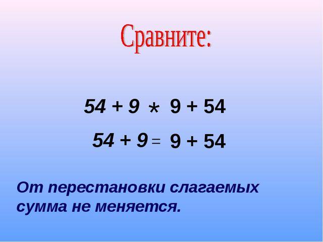 54 + 9 * 9 + 54 54 + 9 = 9 + 54 От перестановки слагаемых сумма не меняется.
