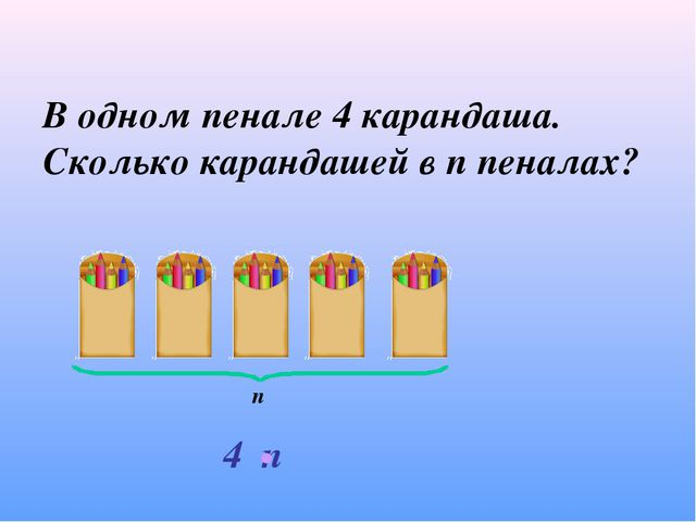 В одном пенале 4 карандаша. Сколько карандашей в п пеналах? п 4 п