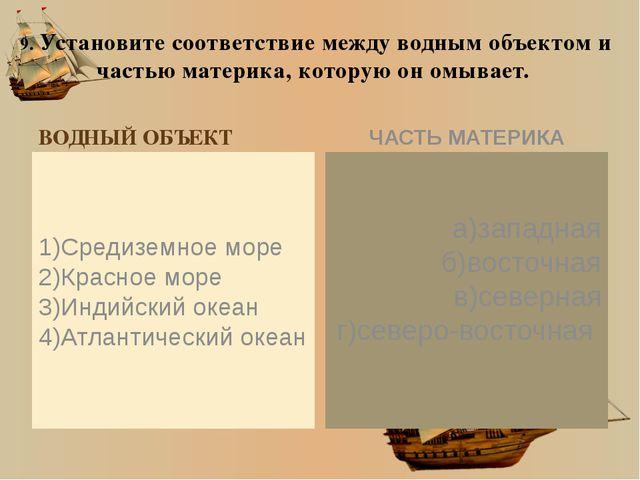 9. Установите соответствие между водным объектом и частью материка, которую о...