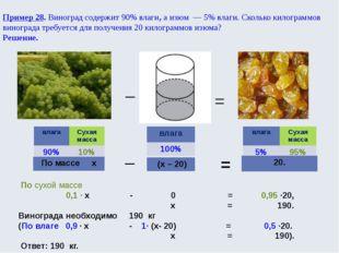 Пример 28. Виноград содержит 90% влаги, а изюм — 5% влаги. Сколько килограм