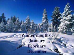 Winter months : January February December