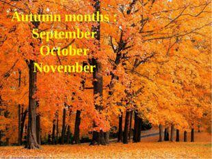 Autumn months : September October November