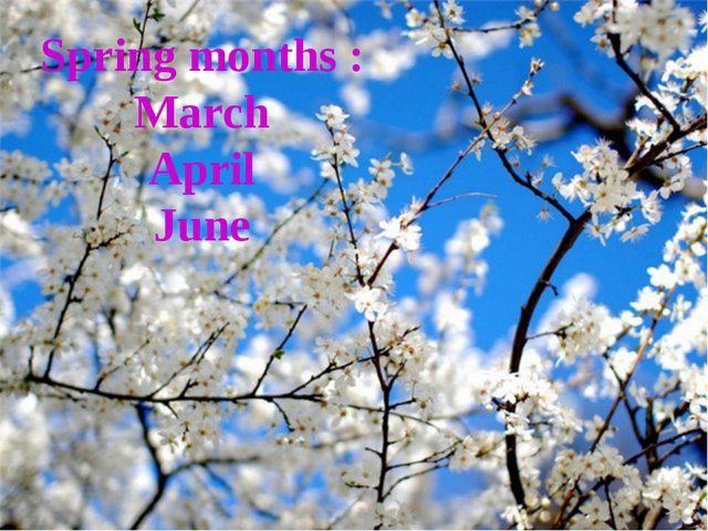 Spring months : March April June