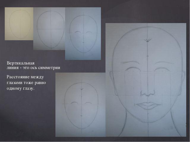 Вертикальная линия - это ось симметрии Расстояние между глазами тоже равно од...