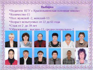 Выборка *Педагоги КГУ « Краснокаменская основная школа» *Количество-15 *Пол: